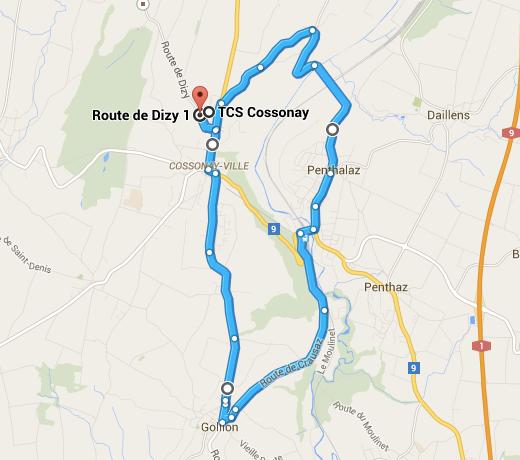 Le parcours conseillé, au départ du centre TCS de Cossonay.