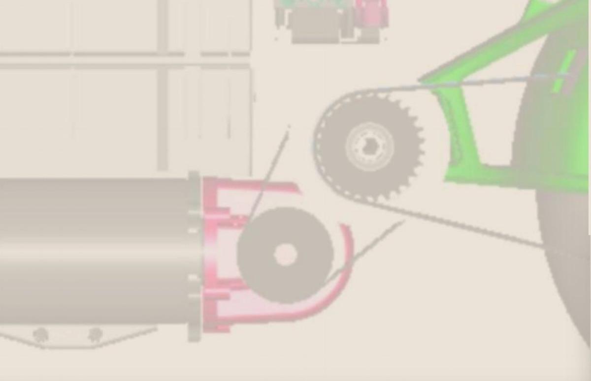La transmission en esquisse, avec la sortie du moteur à gauche et ce qui ressemble à un dispositif pour amplifier le son en violet.