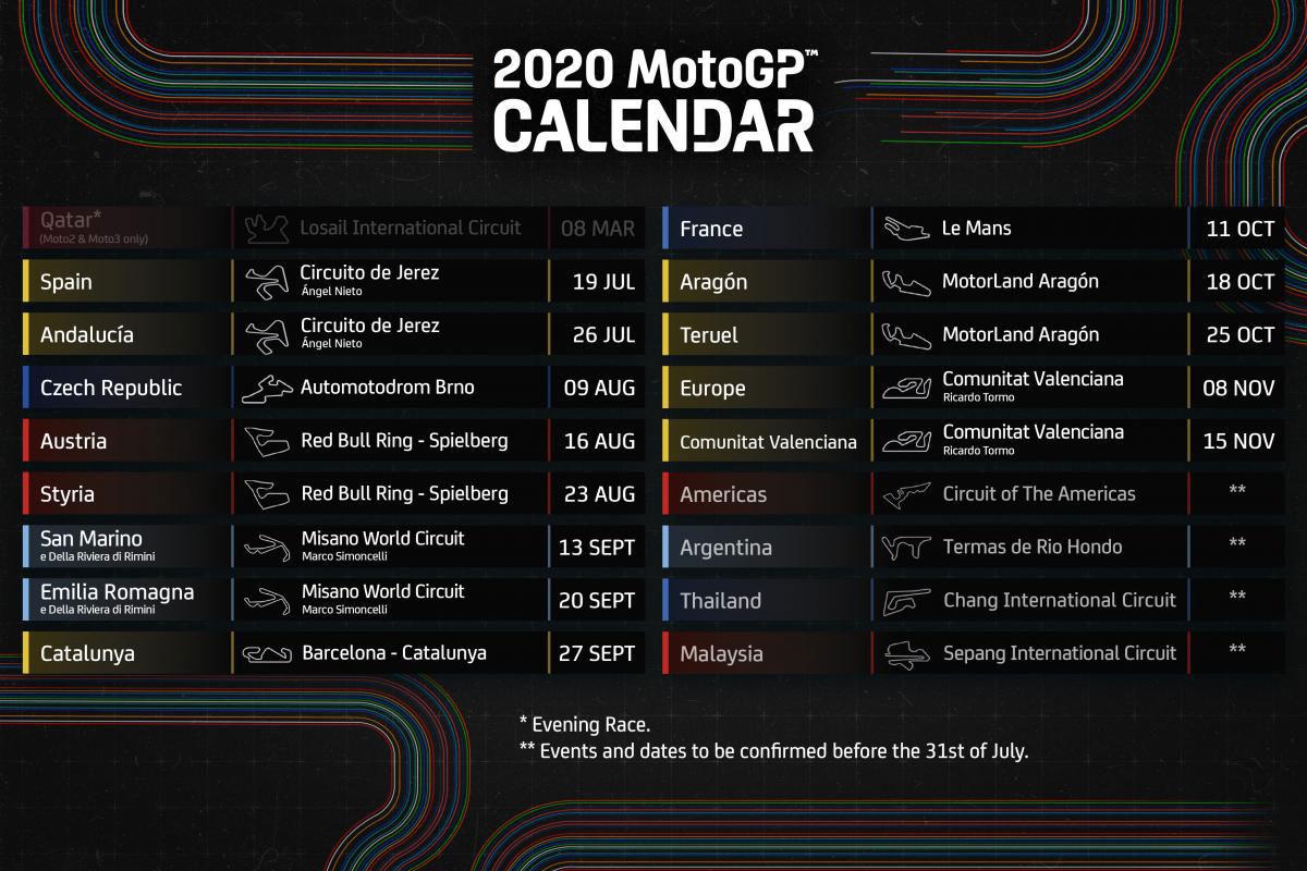 Calendrier Motogp 2021 Calendrier MotoGP   Actu Moto