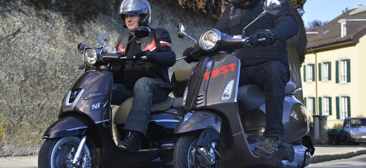 L'originalité du Peugeot Django contre la classe de la Vespa Primavera